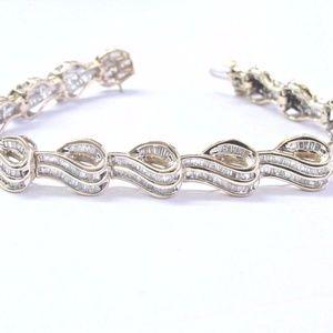 Jewelry - Fine Baguette Diamond Yellow Gold Tennis Bracelet